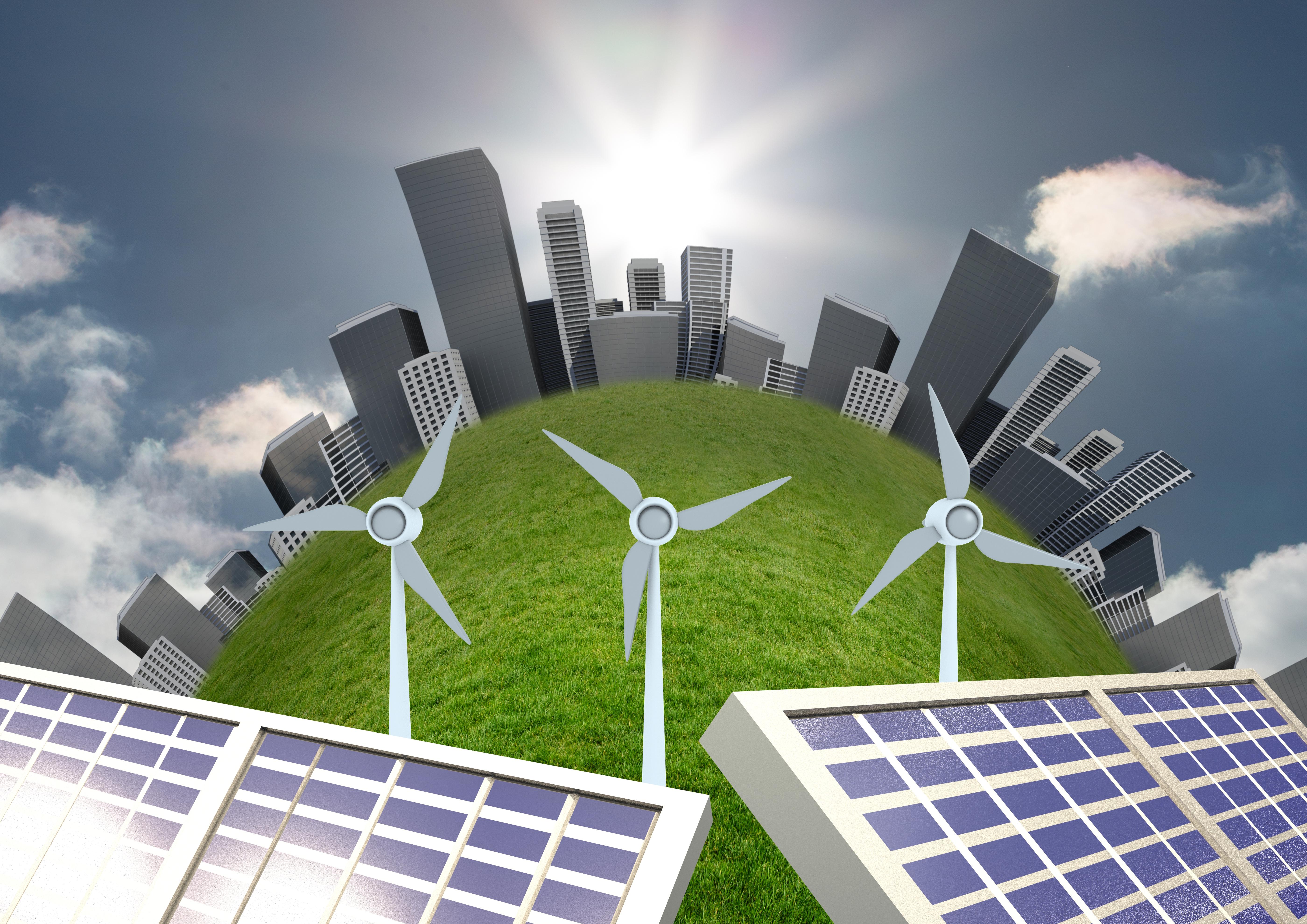 immagine grafica per rievocare mondo e fonti rinnovabili come fotovoltaico ed eolico