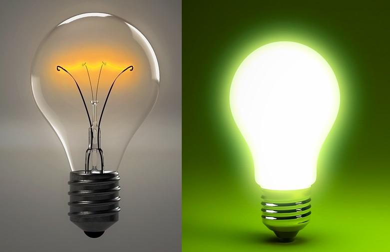 lampadina tradizioale e lampadina led i benefici del led relamping